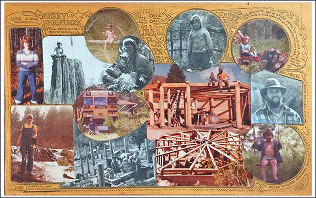 Collage image of Fern-Sabo's alternative upbringing